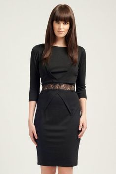 Little Mistress Black Lace Waistband 3/4 Sleeve Dress 8 Black - http://www.cheaptohome.co.uk/little-mistress-black-lace-waistband-34-sleeve-dress-8-black/