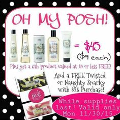 Pamper yourself or everyone on your list!  Hurry supplies are limited! www.perfectlyposh.com/poshbydiane