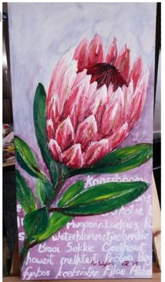 Painting of protea flower, oil on canvas by Carina Turck-Clark, entitled ' I lov. Painting of prot Protea Art, Protea Flower, Botanical Flowers, Botanical Art, Stella Art, Oil On Canvas, Canvas Art, South African Art, Abstract Flowers