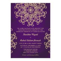 Indian wedding invitation wording template indian wedding purple and gold indian style wedding invitation stopboris Choice Image