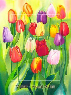 Tulipanes, acuarela sobre papel fabriano.