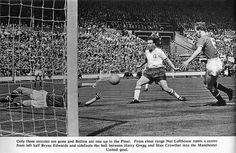 FA Cup Final Manchester United v Bolton Wanderers 1958. Nat Lofthouse scores for Bolton in the third minute.