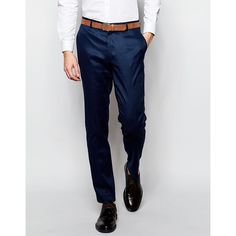 ASOS Skinny Suit Pants in Linen Mix ($68) ❤ liked on Polyvore featuring men's fashion, men's clothing, men's pants, men's dress pants, navy, mens linen pants, mens skinny fit dress pants, mens navy blue dress pants, mens skinny pants and mens linen dress pants