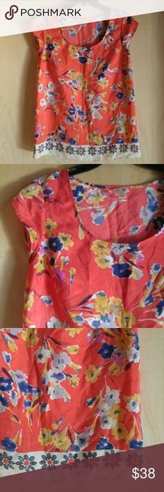 Edme & Esyllte Orange Floral Silk Blazing Blouse Edme and Esyllte brand top from Anthropologie, size 4 (small), in excellent condition! 100% silk. Features gorgeous orange floral print with contrast floral print hem. Please ask any questions. No trades. Make a reasonable offer. Thanks! Anthropologie Tops Blouses