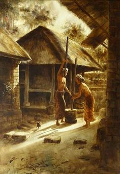 Ni Gusti Agung Galuh Pagi Ubud Bali art t Bali Painting, Industrial Paintings, Art Deco Living Room, Philippines Culture, Indonesian Art, Art Village, Indian Art Paintings, Asian History, African American Art