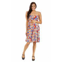 24/7 Comfort Apparel Women's Maternity Floral Fun Tube Short Dress