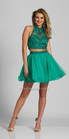If your looking for an eye-catching style with a touch of shimmer, the Two Piece Sparkling Halter Open Back Homecoming Dress by Dave and Johnny is a perfect choice. This two piece stunner features a halter neckline, a sleeveless bodice and a flirty open back. The fit and flare silhouette also includes stunning beadwork, a tulle circle skirt and an invisible zipper closure. #edressme