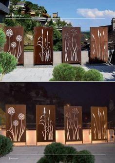 Outdoor Wall Art, Outdoor Walls, Outdoor Decor, Outdoor Wall Decorations, Small Backyard Landscaping, Backyard Fences, Garden Wall Art, Walled Garden, Diy Fence
