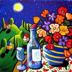 Wine Flowers Moonlight Fun Art Print $39.99 Whimsical Fun Folk Art Paintings by Renie Britenbucher