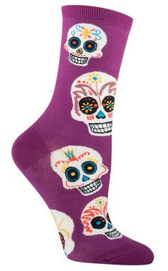 Get a little crazy with some unique Day of the Dead novelty crew socks for men and women. The Day of The Dead is celebrated the day after Halloween, but Dia De Los Muertos socks can be worn year 'round. Sugars skulls on fun socks for men and women. Funky Socks, Cool Socks, Silly Socks, Crazy Socks, Purple Socks, Holiday Socks, Lounge, Skull Fashion, Novelty Socks