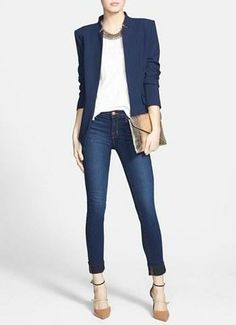 Navy & Gold - Casual Friday Outfit - work wear
