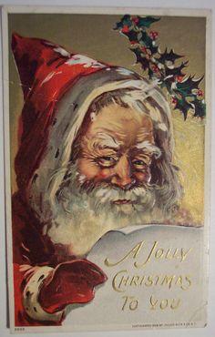 Vintage Christmas Postcard ~ Father Christmas, Santa Claus ~ A Jolly Christmas… Noel Christmas, Victorian Christmas, Father Christmas, Christmas Greetings, Christmas Postcards, Vintage Santa Claus, Vintage Santas, Santa Pictures, Christmas Pictures