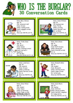 WHO IS THE BURGLAR? - 30 Conversation Cards - Roleplay - Class and Group Speaking - English ESL Worksheets for distance learning and physical classrooms English Games, English Activities, English Class, English Lessons, Teaching English, Learn English, Fun Activities, Listening Activities, Communication Activities