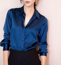 S-XXXL Fashion women Dark blue satin silk blouse ladies casual long sleeve button Turndown Collar real silk satin blouses shirts