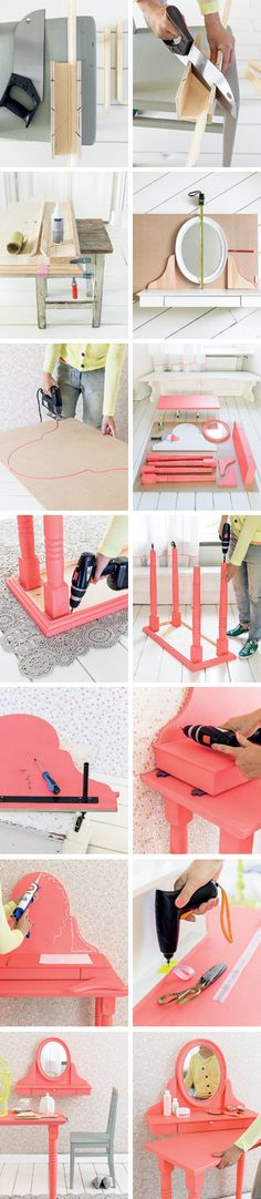 coiffeuse Heart Handmade UK: Dressing Table on Wheels DIY From 101 Woonideeen Magazine Do It Yourself Regal, Furniture Projects, Diy Furniture, Diy Projects To Try, Craft Projects, Eco Deco, Diy Vintage, Diy Vanity, Vanity Desk