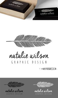 Boho Feather Logo Design. Simple Feather Logo. Blog by easylogo