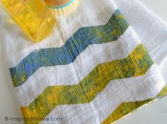 Chevron Painted Tea Towel Mother's Day Craft [Sponsored by #FrogTape] at B-Inspired Mama
