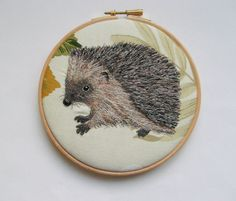 Reserved for Stacie Waddell*** Hedgehog embroidery, wildlife embroidery, embroidery hoop textile art, woodland,home decor.