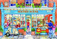 Gibsons Jigsaw Puzzles: Sixties Scene at the Jigsaw Puzzle Shop Puzzles 3d, Free Online Jigsaw Puzzles, 500 Piece Jigsaw Puzzles, Puzzle Art, Josephine Wall, Caspar David Friedrich, Gustav Klimt, Shopping, Entertainment