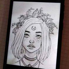 pin: l i s s e t t e✨💜 Girl Drawing Sketches, Cool Art Drawings, Pencil Art Drawings, Sketch Painting, Easy Drawings, Copic Drawings, Arte Sketchbook, Sketchbook Tumblr, Cute Art
