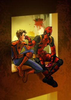 """spideynerds: """"goosefebruary: """" We are not friends! …We're more like lovers. More cutie Pete please! Deadpool X Spiderman, Spiderman Cute, Spiderman Pictures, Spideypool, Superfamily, Marvel Memes, Marvel Dc Comics, Marvel Avengers, Spaider Man"""