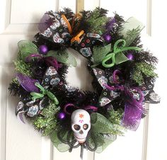 Sugar Skull wreath, Sugar skull Halloween Wreath, Home decor, halloween…