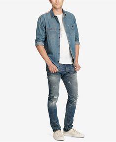 Denim & Supply Ralph Lauren Men's Chambray Shirt - Blue S Casual Button Down Shirts, Denim Button Up, Button Up Shirts, Denim Shirt, Chambray Shirts, Mens Clothing Styles, Men's Clothing, Denim And Supply, Latest Fashion Trends