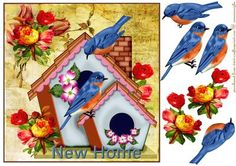 New home birdhouse Vintage on Craftsuprint designed by Marijke Kok - Lovely design for new home cards,very happy colors on a gorgeous vintage background and pretty flowers. - Now available for download!