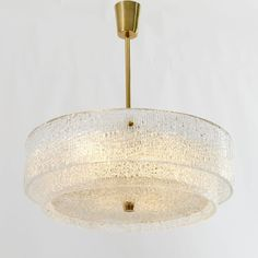 1950s Kalmar Chandelier, Textured Glass and Brass 7