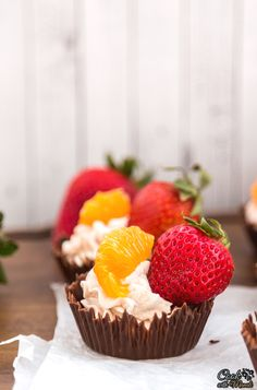 Chocolate Cups with Whipped Cream & Fruits is a fun dessert to put together this Valentines Day! It's also super easy to make!