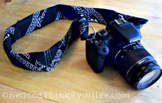 Bandana Camera Strap Re-do!  Purchase (2) bandanas per (1) camera strap. about a buck a piece. So easy why in the world didnt this hipperster think of it!  Hippie hugs with love, Michele~♥~