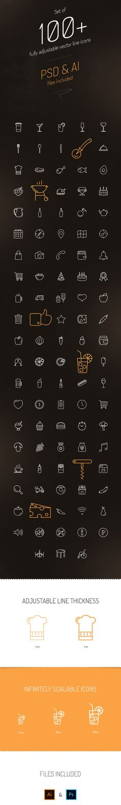 100 Free Vector Line Icons GraphicsFuel Web Design Tips, Web Design Inspiration, Icon Design, Pizza Icon, Minimalist Icons, Visual Resume, Small Icons, Mobile Web Design, Royalty Free Icons