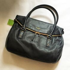 CRAZY SALE Kate Spade Cobble Hill Leslie NWT Black Soft, gorgeous pebbled leather in black with bright gold tone hardware and embossing. Black and white striped satin lining with interior zip pocket (still in protective wrap. Tags attached. Shoulder bag - not crossbody. Large, roomy interior. Year-round staple and so stylish! kate spade Bags Shoulder Bags