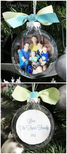 28 Creative Handmade Photo Crafts with Tutorials- DIY Glass Photo Ornaments. These DIY glass photo ornaments make wonderful and personalized gifts for any occasion. Easy and quick to make and most of the supplies can also be found around the house. Noel Christmas, Homemade Christmas, Diy Christmas Gifts, Christmas Projects, All Things Christmas, Christmas Bulbs, Christmas Decorations, Christmas Pictures, Funny Christmas