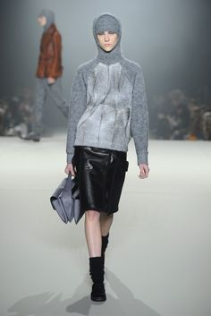 Combed mohair and fur sweater worn with an a-line leather skirt. #AlexanderWang #FW2013 #NYFW