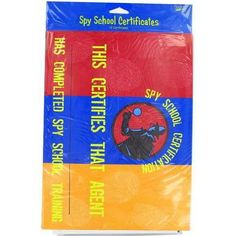 """72 spy school certificates 12 pack by FindingKing. $116.99. 12 Card stock certificates w/the Top Secret theme in blue, orange, & red w/an Agent. Has a place for the Agent's name and measures 12"""" x 9"""". Comes in a poly bag with Upc code. Too Cool For School, Orange Red, Party Games, Spy, School Ideas, Party Supplies, Card Stock, Coding, Cool Stuff"""