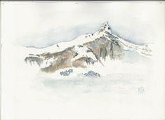 Voici ce que je viens d'ajouter dans ma boutique artoozen sur #etsy : aquarelle originale de l'aiguille de Platé dans les Alpes www.artoozen.etsy.com