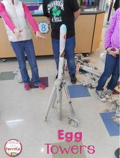 A fabulous STEM egg activity- build a tower that will support the egg! Includes step-by-step directions, lab sheets, and more! Steam Activities, Science Activities, Science Experiments, Science Ideas, Science Topics, Stem Science, Mad Science, Stem Classes, Engineering Design Process