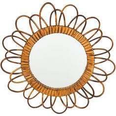 Pre-owned Mid-Century French Bamboo Sunburst Wall Mirror ($595) ❤ liked on Polyvore featuring home, home decor, mirrors, brown, sun shaped mirror, brown wall mirror, bamboo wall mirror, bamboo home decor and brown mirror