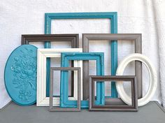 Teal, Grey, Brown Heirloom White Frames with GLASS set of 8 with Floral Plaque - Upcycled Frames Modern  Bedroom Decor