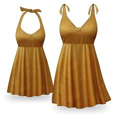 Customizable Caramel Coffee Print Halter or Shoulder Strap 2pc Plus Size Swimsuit/SwimDress