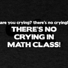 no crying wht Dark T-Shirt There's No Crying Math Class Dark T-Shirt by PoorRichards - CafePress Math Teacher, Math Classroom, Teaching Math, Classroom Ideas, Classroom Quotes, Teacher Stuff, Math Quotes, Math Memes, Funny Math