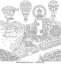 Coloring Pages For Adults Fairytale Castle Fantasy Deer Dragon