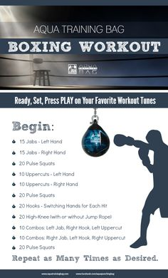 Boxing workout that combines strength training and cardio. Get a workout on your Aqua Punching Bags. Use this workout at home or add it to your Boxercise, Boxilates, Boxing for Fitness class. #Boxin