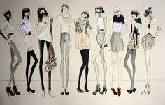 art, fashion, fashionista, girl, girls, illustration