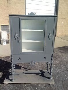 beautiful gray with white interior. custom order Vintage pantry, painted china cabinet, shabby chic, rustic furniture make over dining room kitchen www.handpaintedbycookie.com