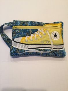 High Top Shoe Zippered Pouch, Turquoise and Yellow, Bag, Wristlet by JazzyJoDesigns on Etsy