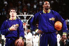 Stockton and Malone (Utah jazz with old logo) Olympic Basketball, Jazz Basketball, Basketball Players, Best Nba Players, John Stockton, 1992 Olympics, Karl Malone, Best Duos, Old Logo
