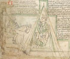 Manuscript BL Lansdowne 782 Chanson d'Aspremont Folio Dating From England (exact location unknown) Holding Institution British Library Medieval Manuscript, Illuminated Manuscript, Yurt Tent, Canvas Bell Tent, A Frame Tent, Bayeux Tapestry, Plantagenet, Historical Images, Anglo Saxon
