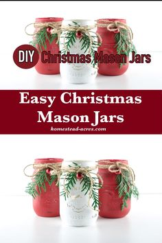Quick and easy painted mason jars for Christmas. You'll love how simple this craft is to make! With just a little paint, twine and some greenery you'll have beautiful homemade jars ready to hold your Christmas flowers or candies. Mason Jar Christmas Crafts, Mason Jar Crafts, Mason Jar Diy, Christmas Crafts For Adults, Holiday Crafts, Simple Christmas, Christmas Diy, Christmas Flowers, Christmas Flower Decorations